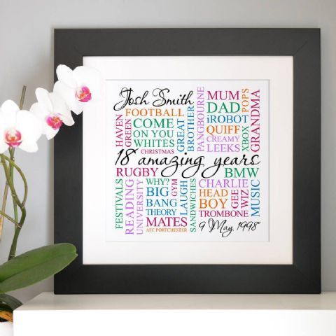 Personalised 18th Birthday Square Word Art .